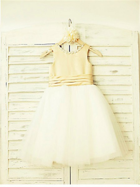 A-Line/Princess Tea-Length Bowknot Scoop Sleeveless Tulle Flower Girl Dress