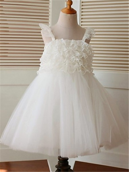 A-Line/Princess Tea-Length Ruffles Straps Sleeveless Organza Flower Girl Dress