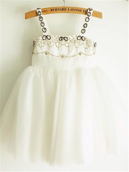 A-Line/Princess Tea-Length Beading Spaghetti Straps Sleeveless Tulle Flower Girl Dress