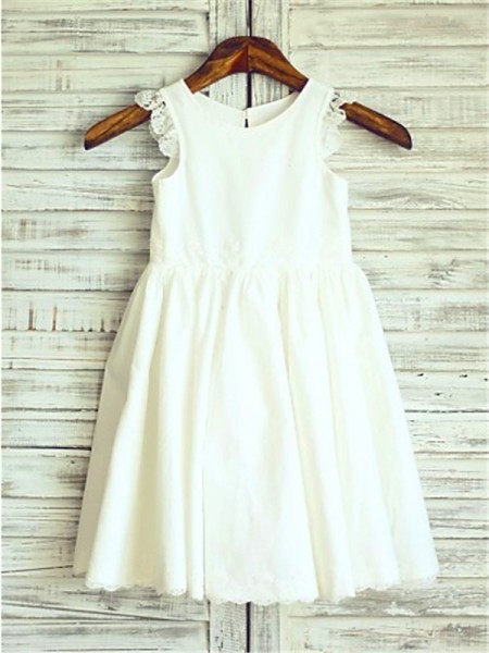 A-Line/Princess Tea-Length Lace Scoop Sleeveless Chiffon Flower Girl Dress