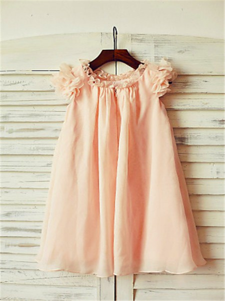 A-Line/Princess Tea-Length  Scoop Short Sleeves Chiffon Flower Girl Dress