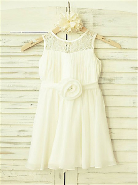 A-Line/Princess Tea-Length Hand-Made Flower Scoop Sleeveless Chiffon Flower Girl Dress
