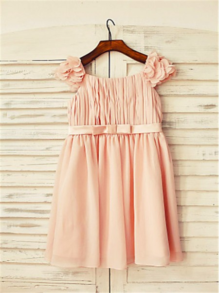 A-Line/Princess Tea-Length Layers Straps Sleeveless Chiffon Flower Girl Dress