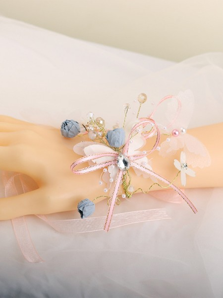 Elegant Glass Wedding Party Wrist Corsage