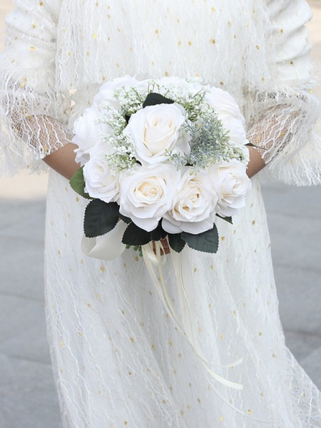Round Silk Flower Beautiful Bridal Bouquets