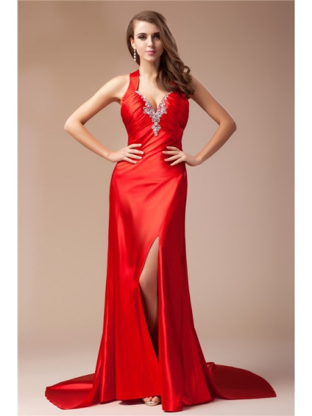 Sheath/Column Beading V-neck Sweep/Brush Train Sleeveless Elastic Woven Satin Dresses