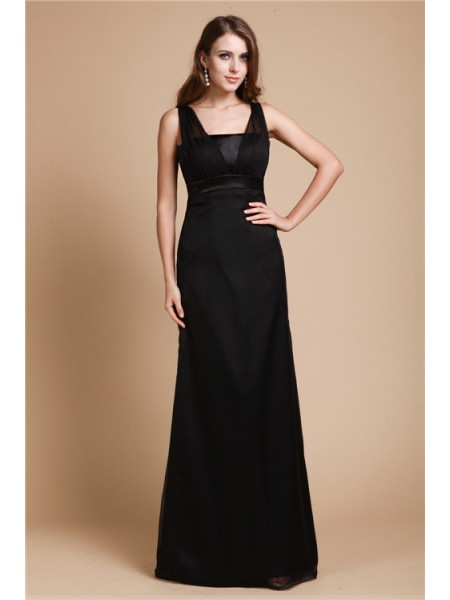 Sheath/Column Sash/Ribbon/Belt Straps Floor-Length Sleeveless Chiffon Dresses