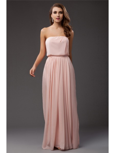 Sheath/Column Ruffles Strapless Floor-Length Sleeveless Chiffon Dresses
