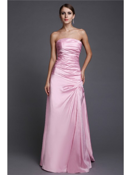 A-Line/Princess Beading Strapless Floor-Length Sleeveless Elastic Woven Satin Dresses