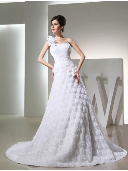 A-Line/Princess Hand-Made Flower One-Shoulder Cathedral Train Sleeveless Taffeta Wedding Dresses