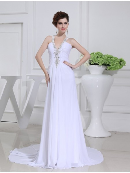 A-Line/Princess Beading Applique V-neck Court Train Sleeveless Chiffon Wedding Dresses