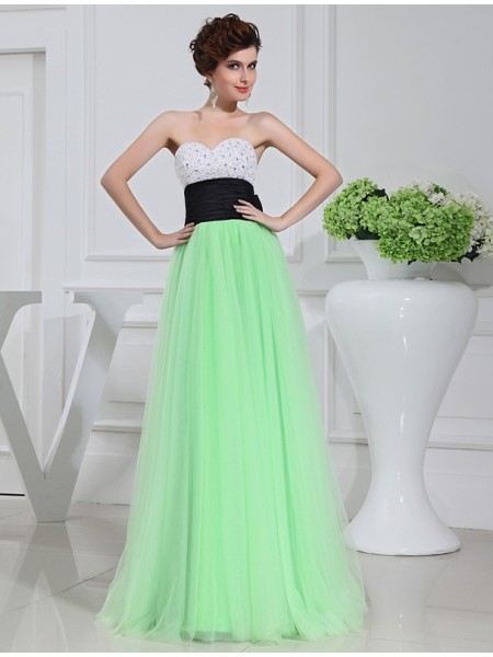 A-Line/Princess Beading Bowknot Sweetheart Floor-Length Sleeveless Satin Tulle Dresses