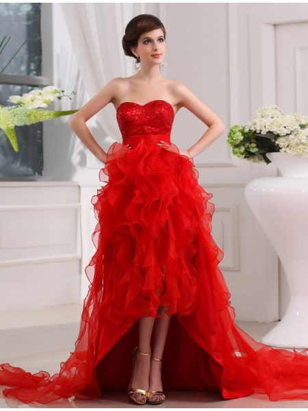 A-Line/Princess Sequin Sweetheart Asymmetrical Sleeveless Organza Dresses