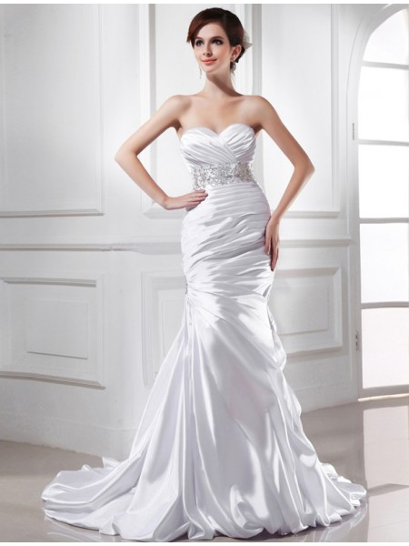 Trumpet/Mermaid Beading Sweetheart Court Train Sleeveless Elastic Woven Satin Wedding Dresses
