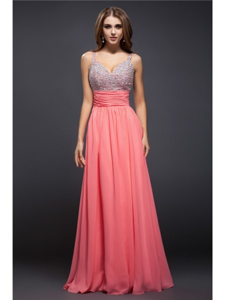 Sheath/Column Beading Spaghetti Straps Floor-Length Sleeveless Chiffon Dresses