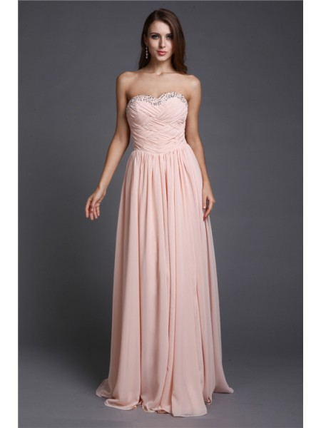 A-Line/Princess Beading Sweetheart Floor-Length Sleeveless Chiffon Dresses