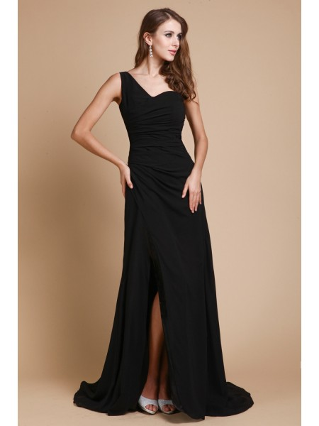 A-Line/Princess Ruffles One-Shoulder Sweep/Brush Train Sleeveless Chiffon Dresses