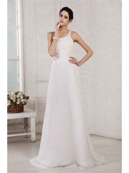 A-Line/Princess Beading Applique One-Shoulder Sweep/Brush Train Sleeveless Chiffon Wedding Dresses