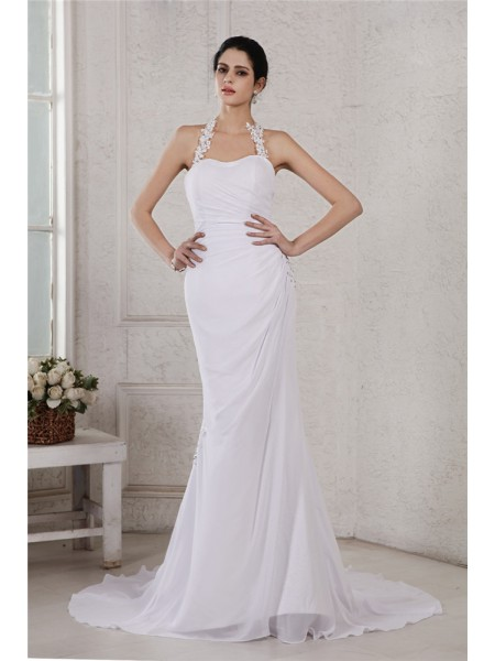 Trumpet/Mermaid Beading Applique Halter Court Train Sleeveless Chiffon Wedding Dresses