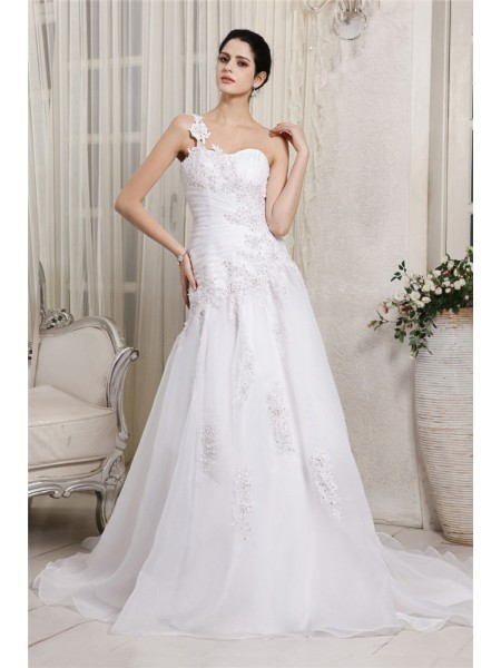 A-Line/Princess Beading Applique One-Shoulder Chapel Train Sleeveless Organza Wedding Dresses