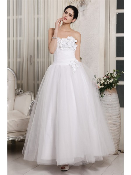 Ball Gown Beading Sweetheart Ankle-Length Sleeveless Organza Wedding Dresses