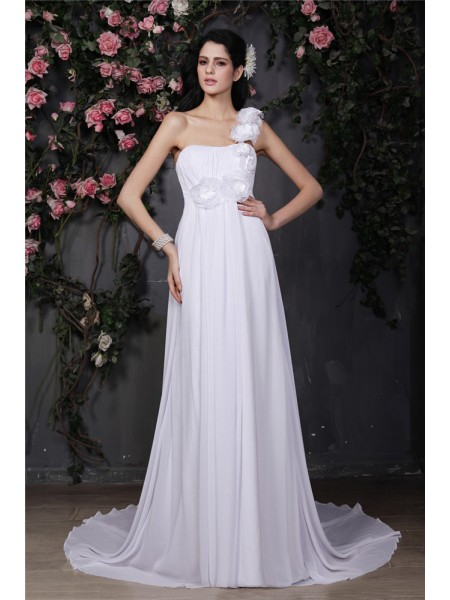 A-Line/Princess Ruffles Hand-Made Flower One-Shoulder Chapel Train Sleeveless Chiffon Wedding Dresses