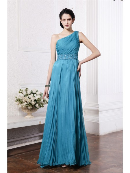 Sheath/Column Pleats Beading One-Shoulder Floor-Length Sleeveless Chiffon Bridesmaid Dresses