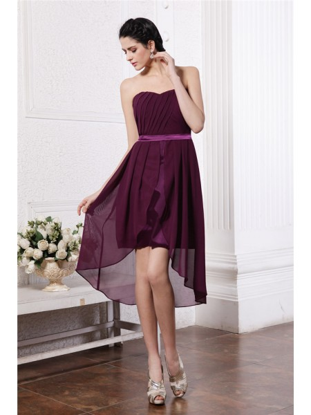 Sheath/Column Pleats Sash/Ribbon/Belt Strapless Asymmetrical Sleeveless Chiffon Dresses