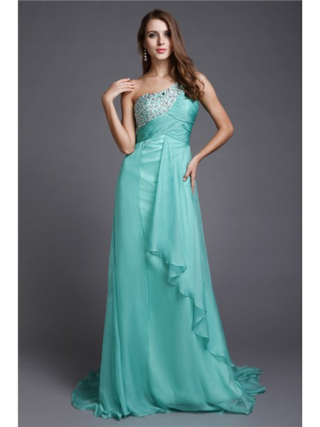A-Line/Princess Beading One-Shoulder Sweep/Brush Train Sleeveless Chiffon Dresses