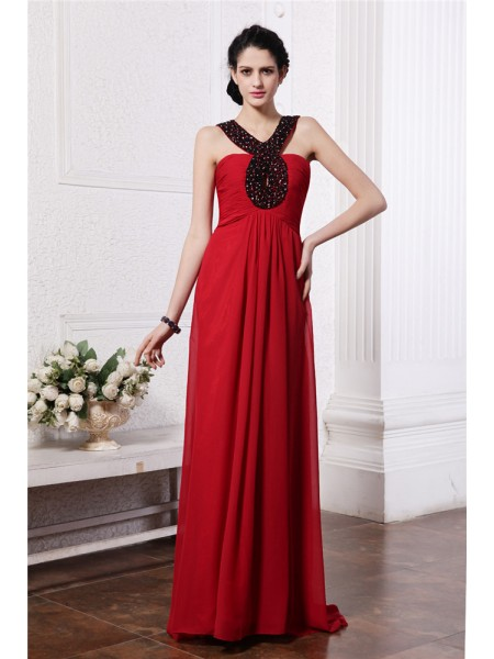 Sheath/Column Beading V-neck Sweep/Brush Train Sleeveless Chiffon Dresses