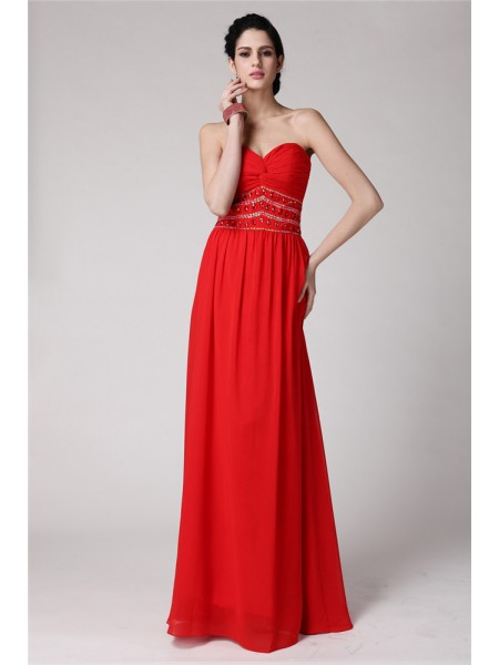 Sheath/Column Pleats Beading Sweetheart Floor-Length Sleeveless Chiffon Dresses