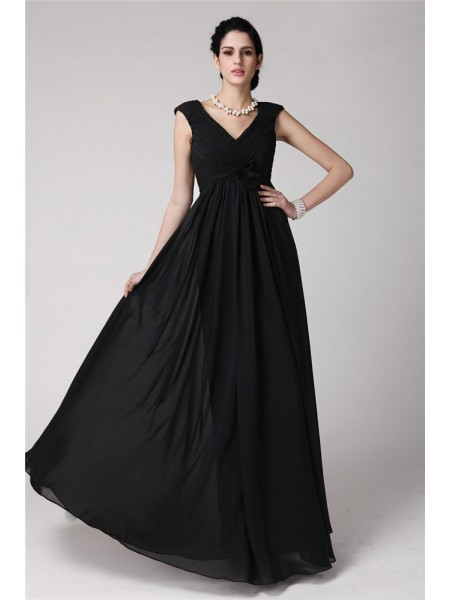 Sheath/Column Pleats V-neck Floor-Length Sleeveless Chiffon Dresses