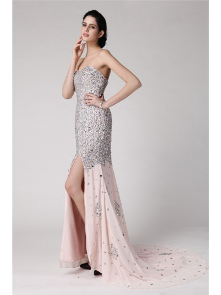Trumpet/Mermaid Beading Rhinestone Sweetheart Sweep/Brush Train Sleeveless Chiffon Dresses