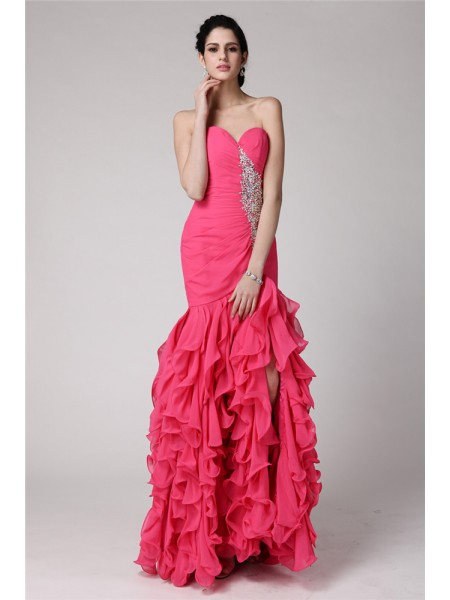Trumpet/Mermaid Ruffles Beading Sweetheart Floor-Length Sleeveless Chiffon Dresses