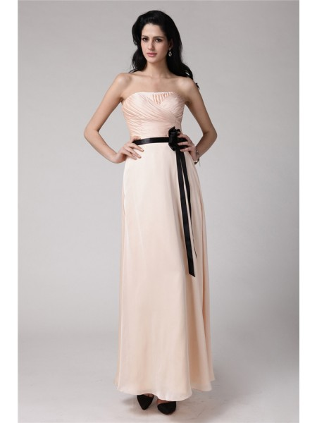 Sheath/Column Sash/Ribbon/Belt Strapless Ankle-Length Sleeveless Chiffon Elastic Woven Satin Bridesmaid Dresses
