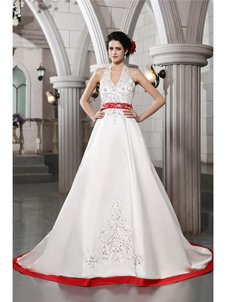 A-Line/Princess Beading Embroidery V-neck Chapel Train Sleeveless Satin Wedding Dresses