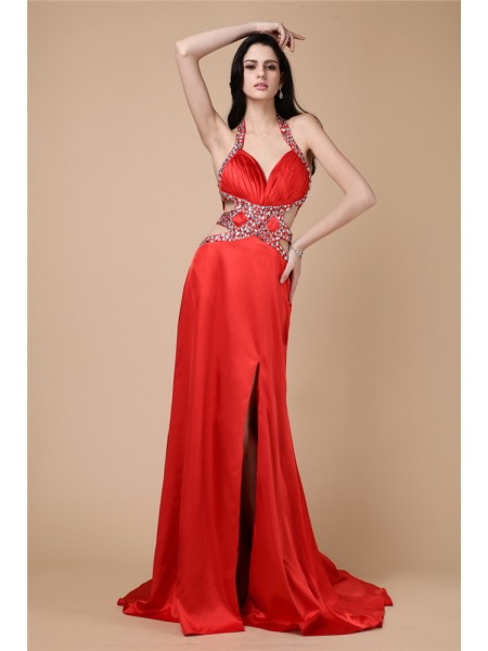 Sheath/Column Beading Halter Sweep/Brush Train Sleeveless Elastic Woven Satin Dresses