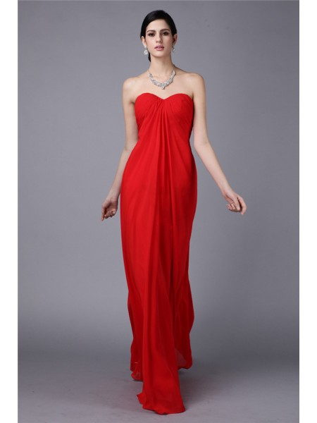 Sheath/Column Pleats Strapless Floor-Length Sleeveless Chiffon Dresses