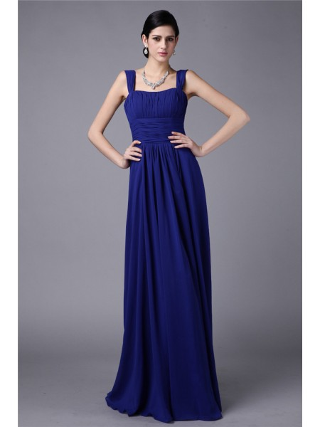 Sheath/Column Pleats Straps Floor-Length Sleeveless Chiffon Bridesmaid Dresses