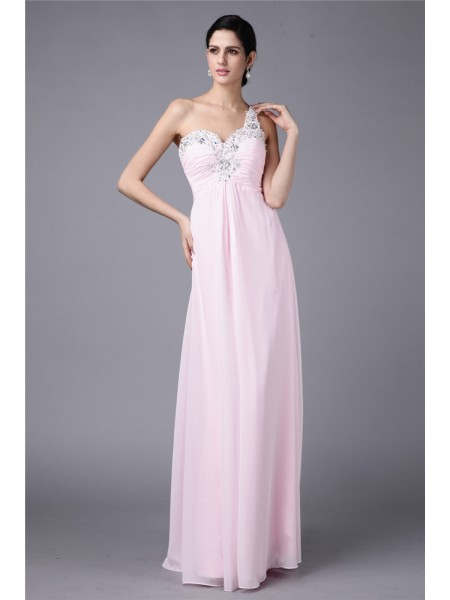 Sheath/Column Beading Applique One-Shoulder Floor-Length Sleeveless Chiffon Dresses