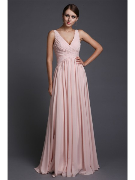 A-Line/Princess Ruffles V-neck Floor-Length Sleeveless Chiffon Bridesmaid Dresses