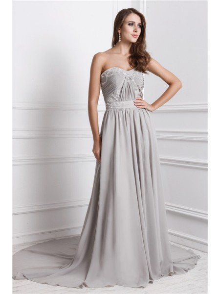 A-Line/Princess Beading Sweetheart Sweep/Brush Train Sleeveless Chiffon Dresses