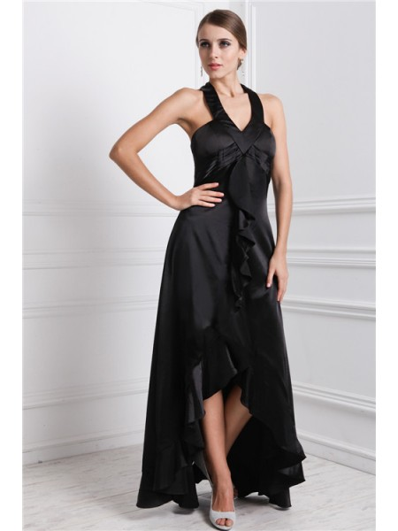 A-Line/Princess Ruffles Bateau Asymmetrical Sleeveless Silk like Satin Dresses
