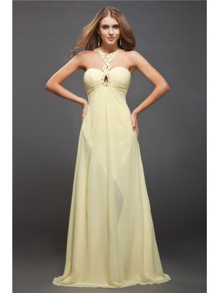 Sheath/Column Beading Halter Floor-Length Sleeveless Chiffon Dresses