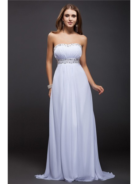 Sheath/Column Beading Strapless Floor-Length Sleeveless Chiffon Dresses