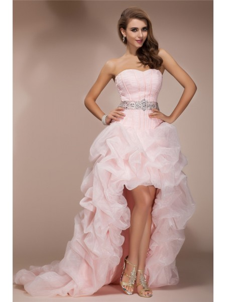 A-Line/Princess Beading Sweetheart Asymmetrical Sleeveless Organza Dresses