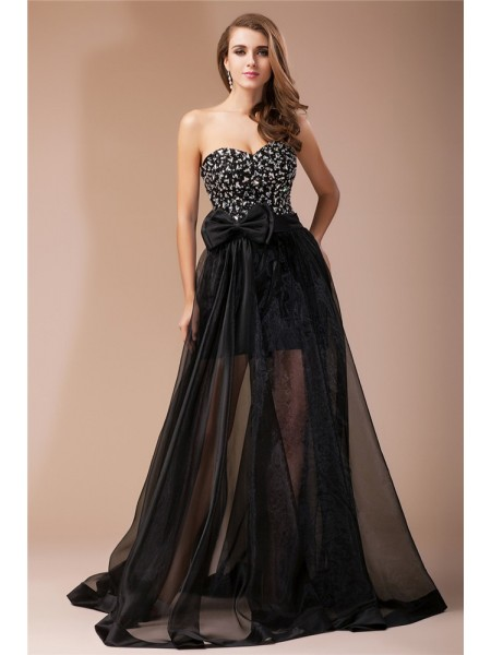 Sheath/Column Beading Sweetheart Floor-Length Sleeveless Elastic Woven Satin Organza Dresses