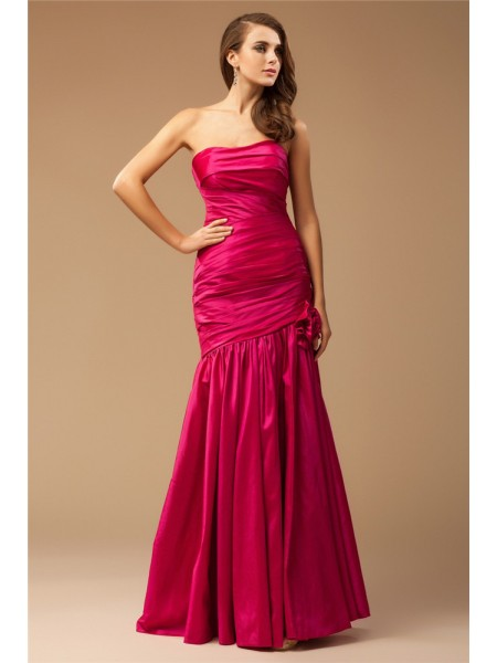 Trumpet/Mermaid Ruffles Strapless Floor-Length Sleeveless Taffeta Dresses