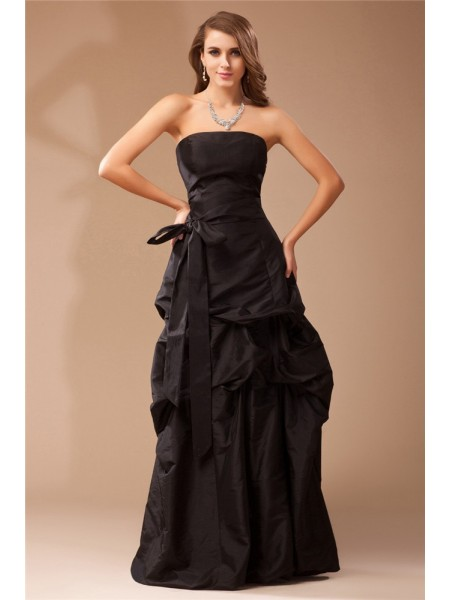 A-Line/Princess Ruffles Strapless Floor-Length Sleeveless Taffeta Dresses