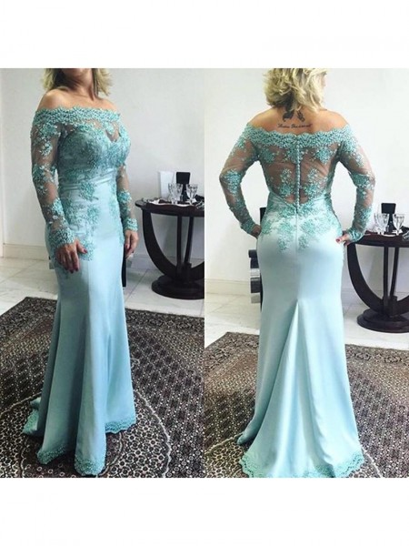 Trumpet/Mermaid Applique Off-the-Shoulder Sweep/Brush Train Long Sleeves Elastic Woven Satin Mother of the Bride Dresses